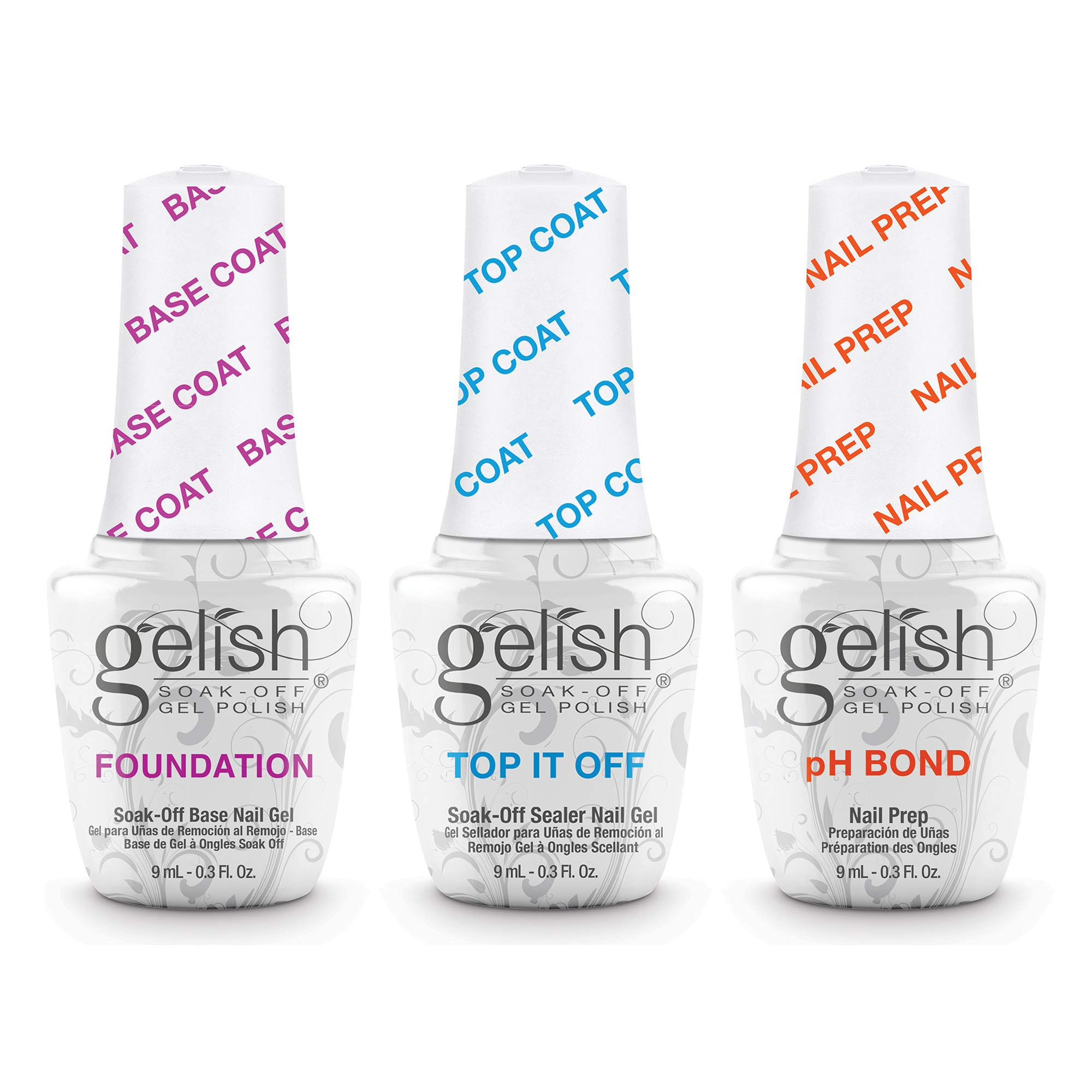 Gelish Terrific Trio Essentials 15 mL Basix Care Soak Off Manicure Gel Nail Polish Kit with Foundation, pH Bond and Top It Off Gel