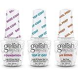 Gelish Terrific Trio Essentials 15 mL Basix Care Soak Off Manicure Gel Nail Polish Kit with Foundation, pH Bond and Top It Of