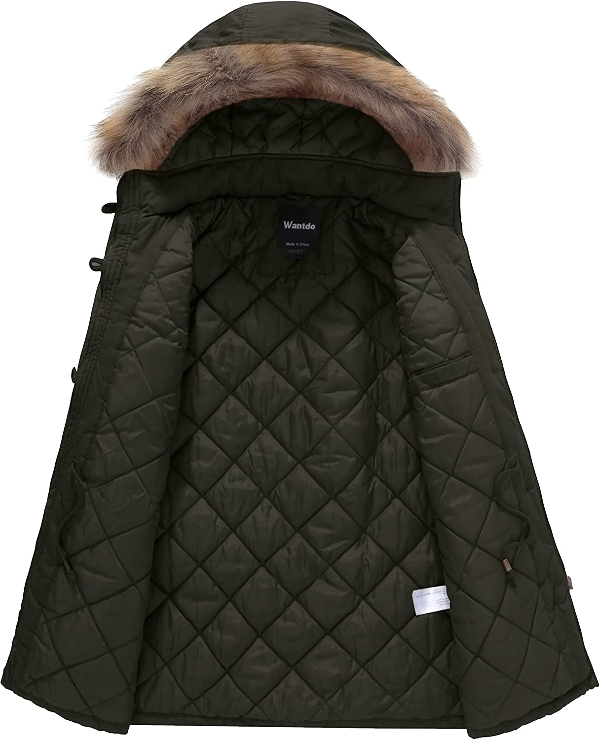 Wantdo Womens Cotton Thicken Padded Parka Winter Jacket Removable Fur Hood Coat