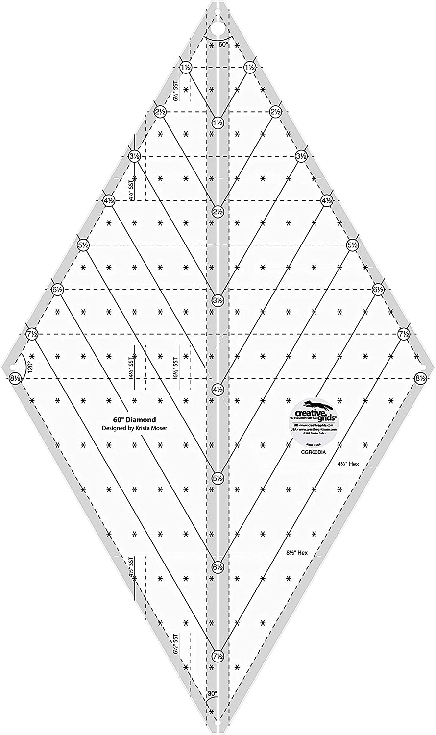 Creative Grids 60 Degree Diamond Ruler Quilting Ruler Template Designed by Krista Moser, Patented Non-Slip Grip