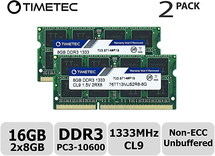 Timetec Hynix IC 16GB Kit(2x8GB) DDR3 1333MHz PC3-10600 Non ECC Unbuffered 1.5V CL9 2Rx8 Dual Rank 204 Pin SODIMM Laptop Notebook Computer Memory Ram Module Upgrade(16GB Kit(2x8GB))