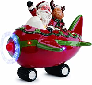 Napco Santa Claus Reindeer in Airplane LED Light Up 9.5 x 8 Inch Christmas Tabletop Figurine