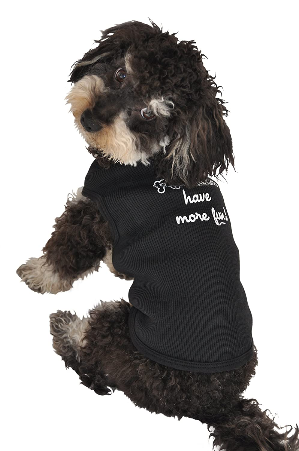 Ruff Ruff and Meow Extra-Small Dog Tank Top, Poodles Have More Fun, Black