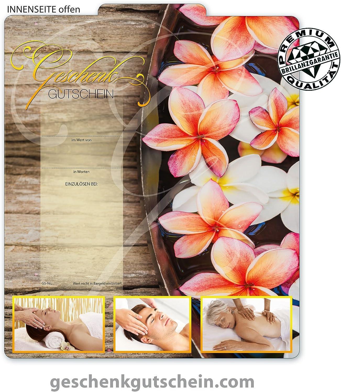 MA9241 10 Gutscheinkarten DIN-lang 10 Schleifen 10 Kuverts Gutscheine f/ür Massagepraxis Massage