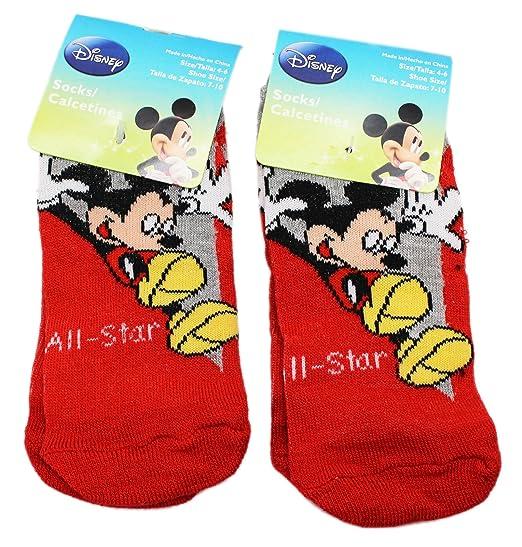 Disneys Mickey Mouse Fun Sliding Red Kids Socks (Size 4-6, 2 Pairs