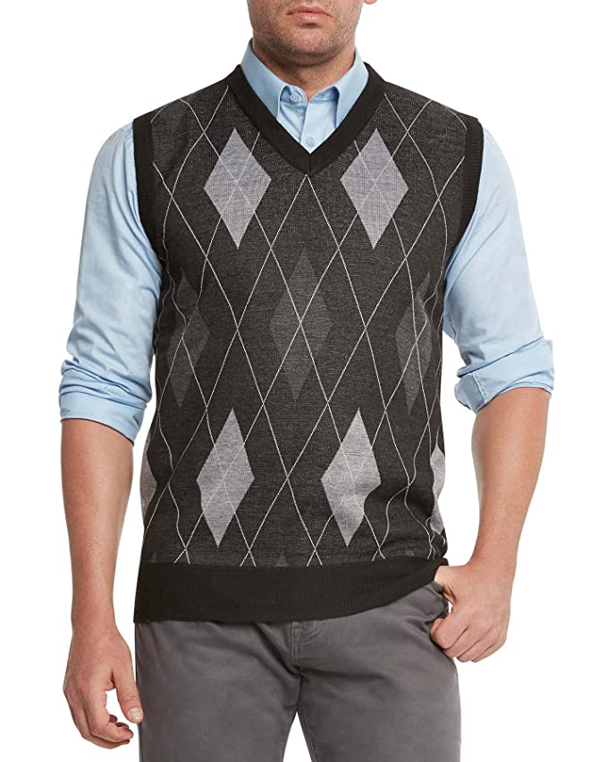 1920s Style Mens Vests True Rock Mens Argyle V-Neck Sweater Vest $24.99 AT vintagedancer.com