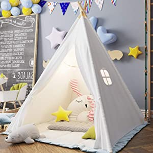 Teepee Play Tent for Kids with Gifts Floor Mat, Star Lights, Coloured Flag, Feathers, Carry Case, Indoor Outdoor Playhouse for Baby and Toddler, Toys for Boys and Girls-ASTM Certified (White)
