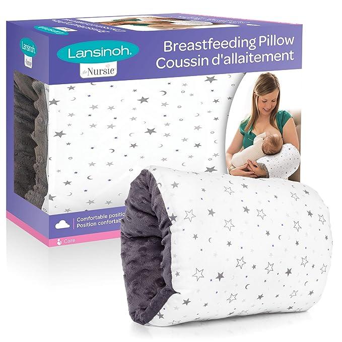 Firm Support Deluxe Nursing Pregnancy Breastfeeding Pillow Light Grey Stars