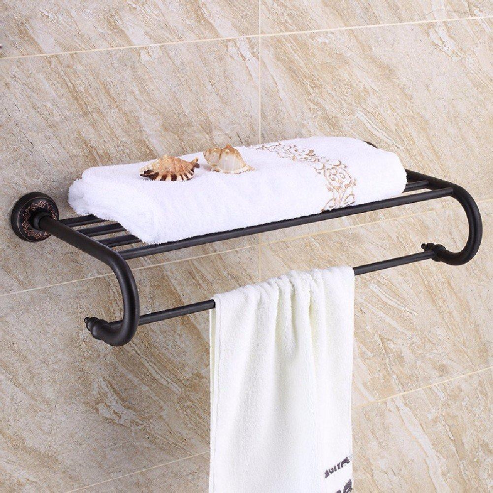 HQLCX Black Bronze Towel Bar, Full Copper American Vintage Bath Towel Bar by HQLCX-Towel Bar