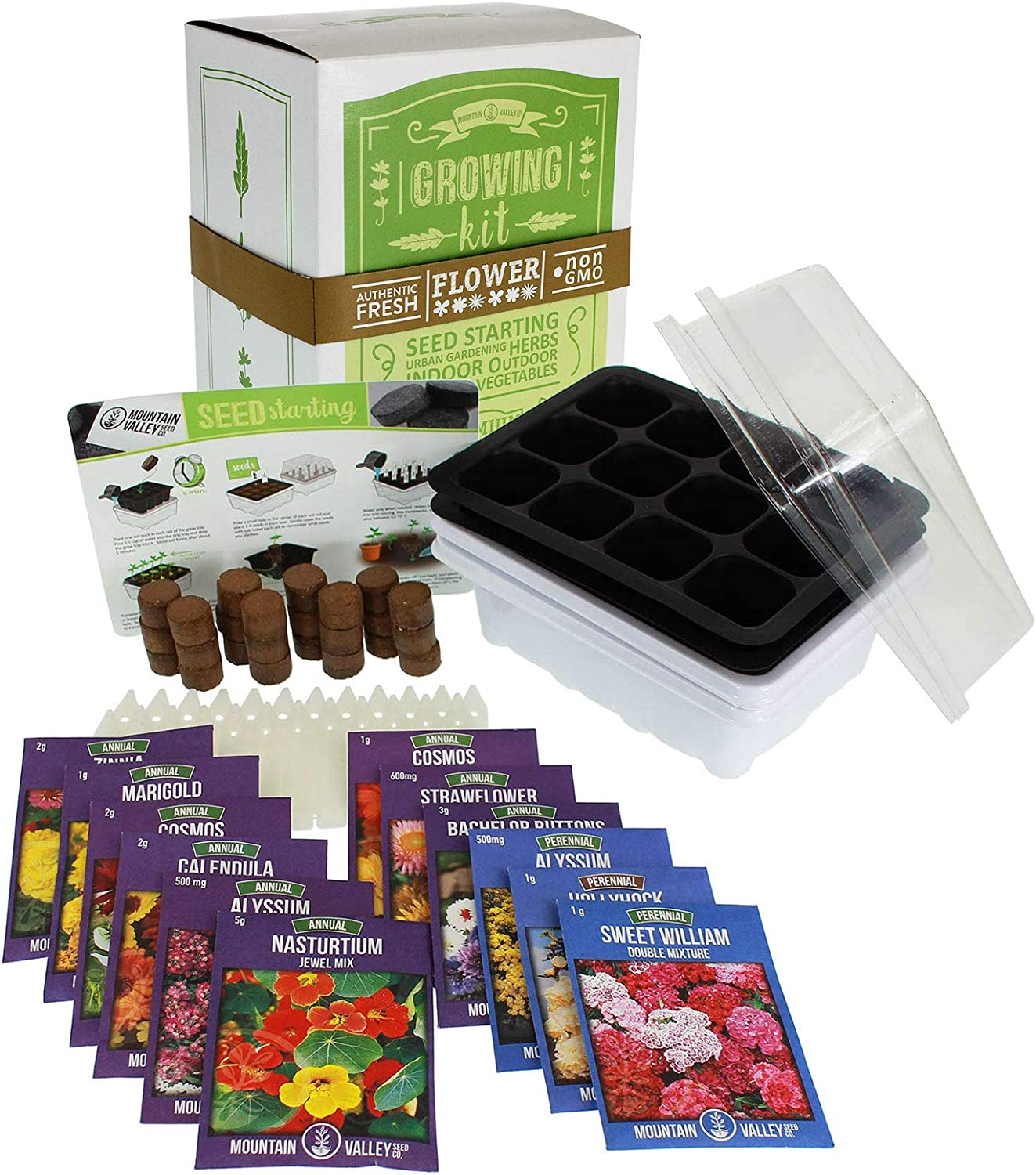Annual Flower Garden Seed Starter Kit | Deluxe | 12 Varieties of Flower Seeds for Planting: Sweet William, Strawflower, Bachelors Buttons, Cosmos, Zinnia, Alyssum, Zinnia & More