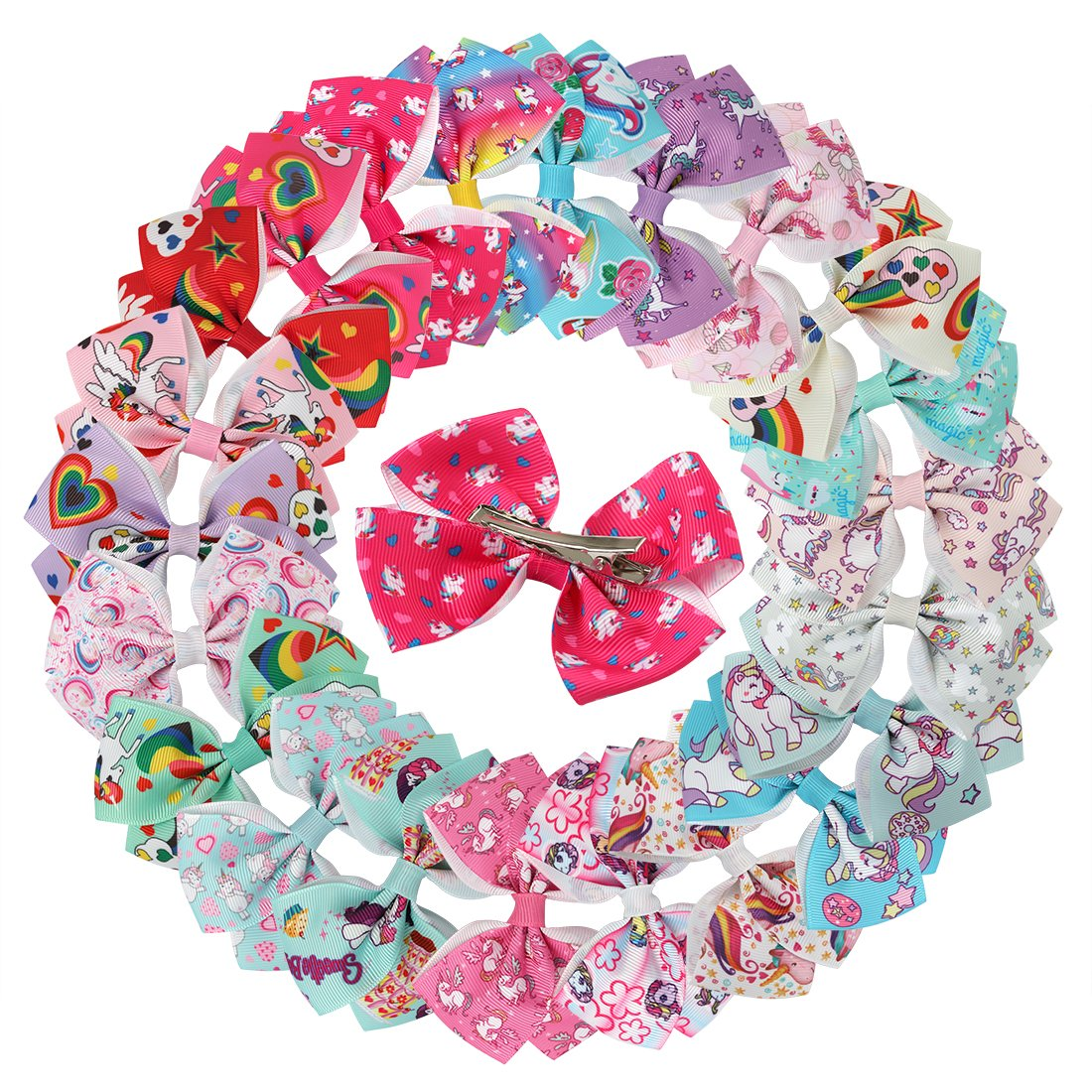 XIMA Unicorn Hair Bows Clips For Girls Women 3.5inch Grosgrain Ribbon Bows With Alligator Clips Hair Accessories (22pcs…