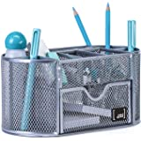 Mindspace Compact Office Desk Organizer Caddy with 8 Compartments + Drawer | The Mesh Collection, Silver