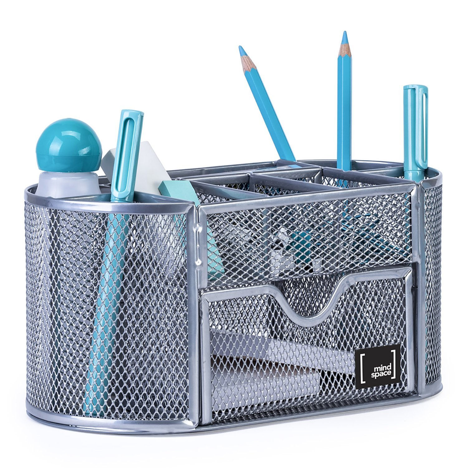 Office Supplies Desk Organizer by Mindspace, 8 Compartments + Drawer   The Mesh Collection, Silver