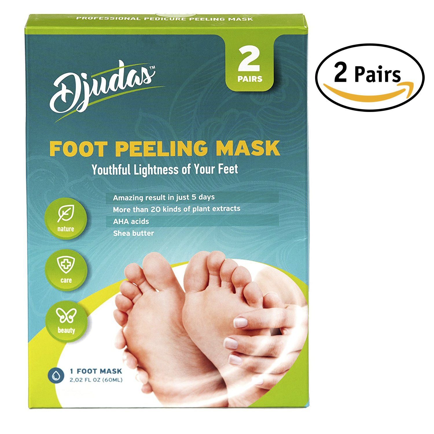 Foot peel exfoliating mask – Effective Purederm peeling gel – exfoliant, Amazing SPA for Baby Soft Feet – Try it today - Results are guaranteed – One Pack Contain 2 pair