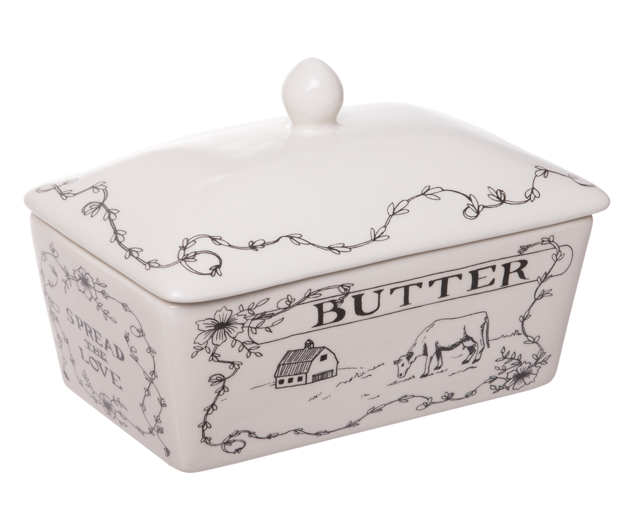 Red Co. Lovely Country Themed Stoneware Butter Dish with Lid, Off-White, 6-inch