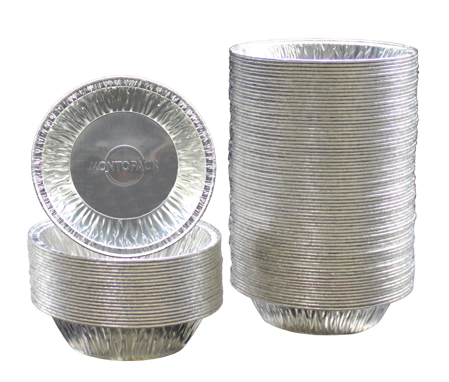 MontoPack Disposable 5'' Aluminum Foil Tart/Pie Tins Pans (100 Pack)