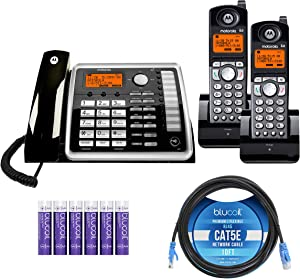Motorola ML25260 Expandable Corded 2-Line Business Phone with Full Duplex Speakerphone Bundle with 2-Pack of ML25055 2-Line DECT 6.0 Cordless Handsets, Blucoil 10' Cat5e Cable, and 6 AAA Batteries