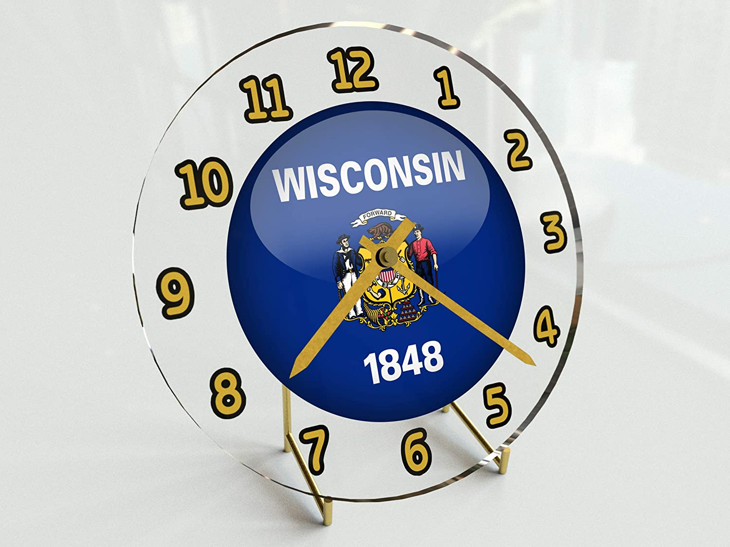 """FanPlastic States and Territories of The USA Desktop/Shelf Clocks - Brand New and Unique Circular State Flag Designs - Size 7"""" X 7"""" X 2"""" !!"""