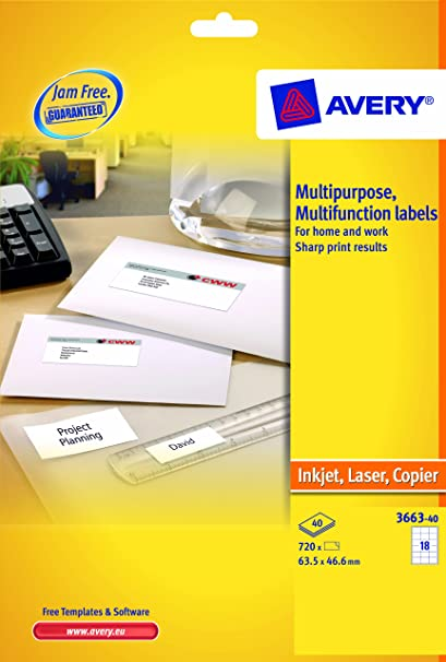 Avery 3663 40 multipurpose labels a4 sheets of 635 x 466 mm avery 3663 40 multipurpose labels a4 sheets of 635 x 466 mm labels 18 labels per sheet 40 sheets white amazon office products reheart Choice Image