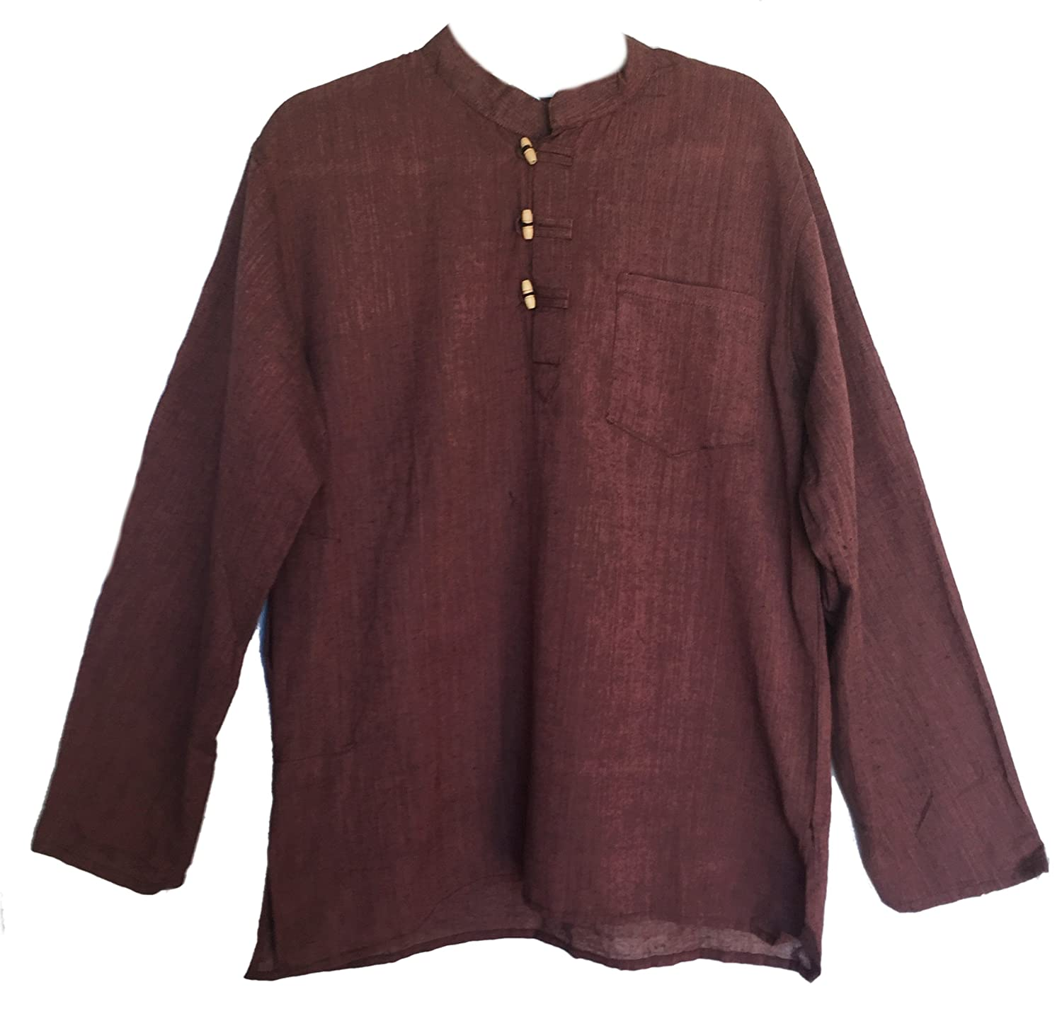 Men's Hand Loomed Brown Cotton Banded Collar Tunic