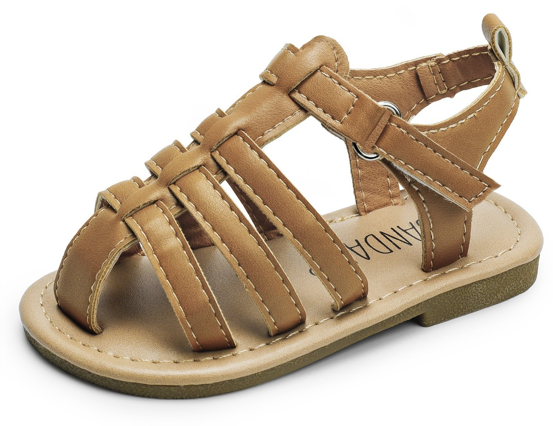 SANDALUP Boys & Girls Flat Sandals for Toddler/Little Kid Summer Shoes Brown Toddler 06