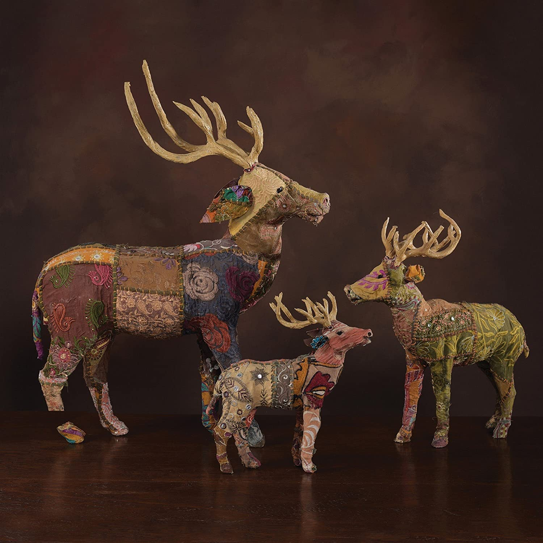 "Vintage Patchwork Sari Standing Deer Figure 12/""Buck Stag Woodland Colorful"