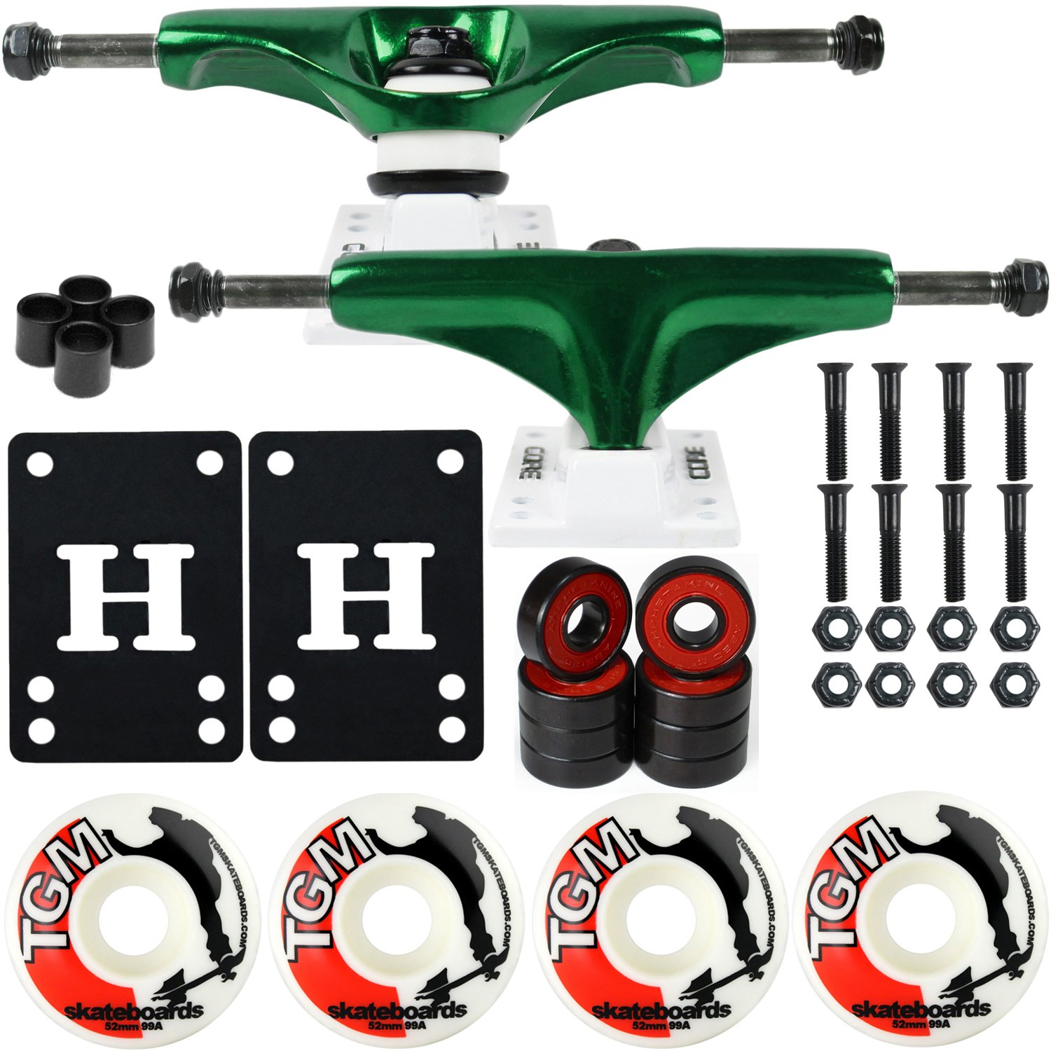 CORE Skateboard Package 5.0'' Trucks 52mm with White Wheels + Components (Metallic Green Hanger/White Base) by CORE