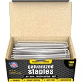 100 6-Inch Galvanized Garden Landscape Sod Staples - Anti-Rust 11-Gauge Pins - Stakes for Weed Barrier Fabric, Ground Cover a