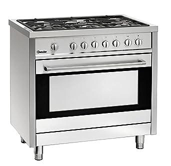 piano cottura a gas 5 fuochi con forno elettrico 105 litri bartscher 1509851