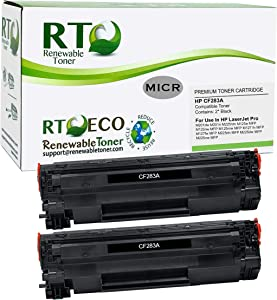 Renewable Toner Compatible MICR Toner Cartridge Replacement for HP 83A CF283A Laserjet Pro M125 MFP M127 MFP M201 M225 MFP (Black, 2-Pack)