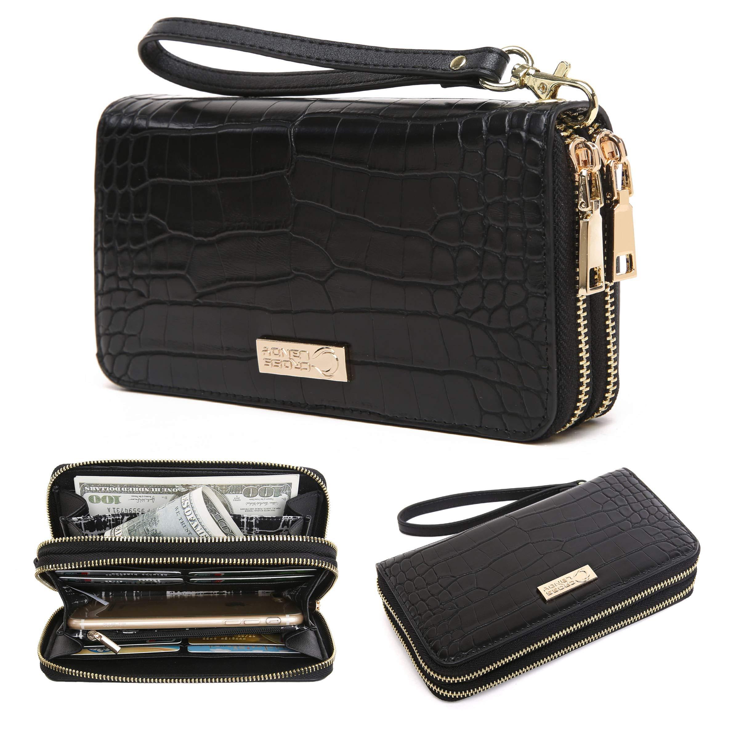 CrossLandy Women Men RFID Blocking Double Zip Leather Wallet Clutch Wristlet