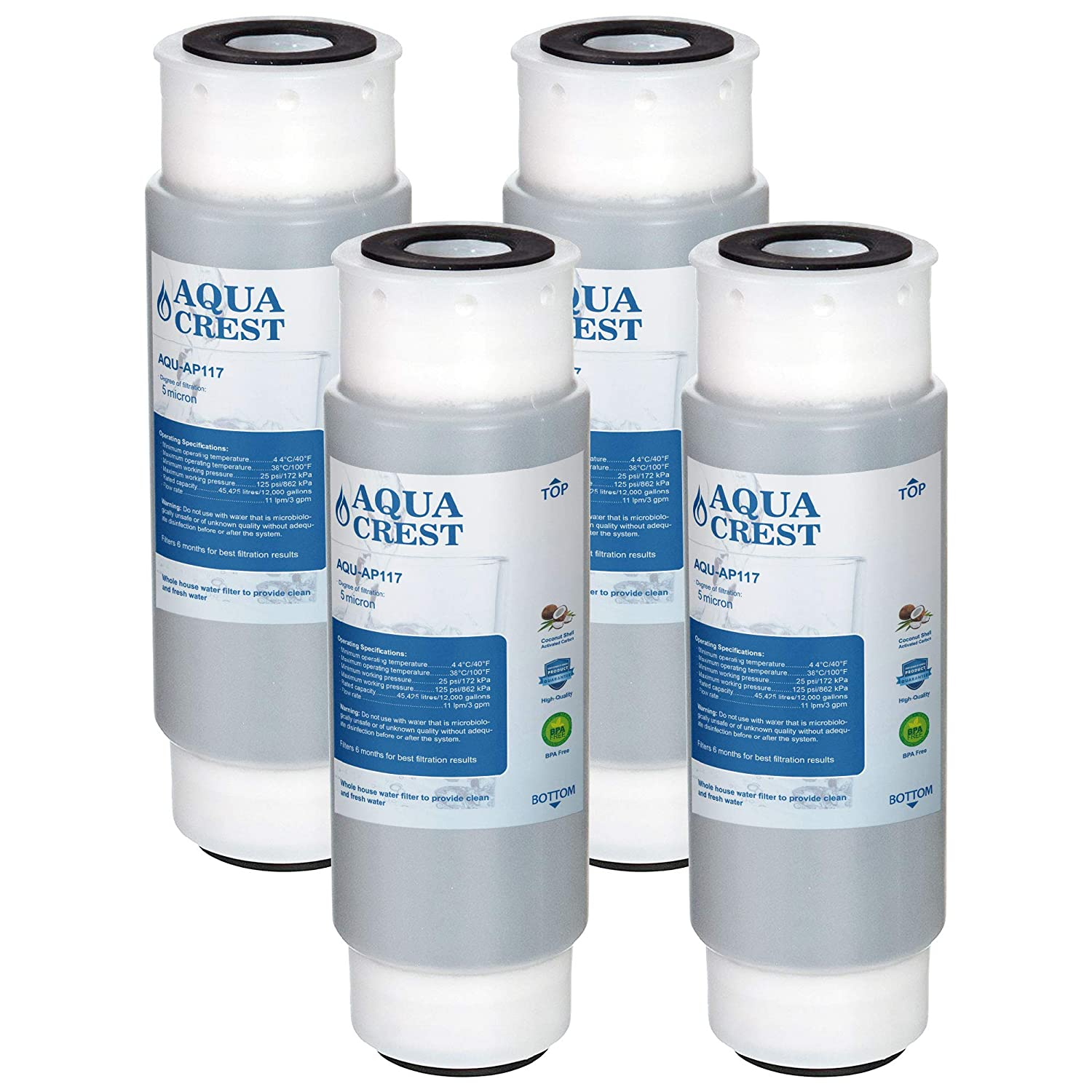 AQUACREST AP117 Whole House Water Filter, Compatible with 3M Aqua-Pure AP117, Whirlpool WHKF-GAC (Pack of 4)