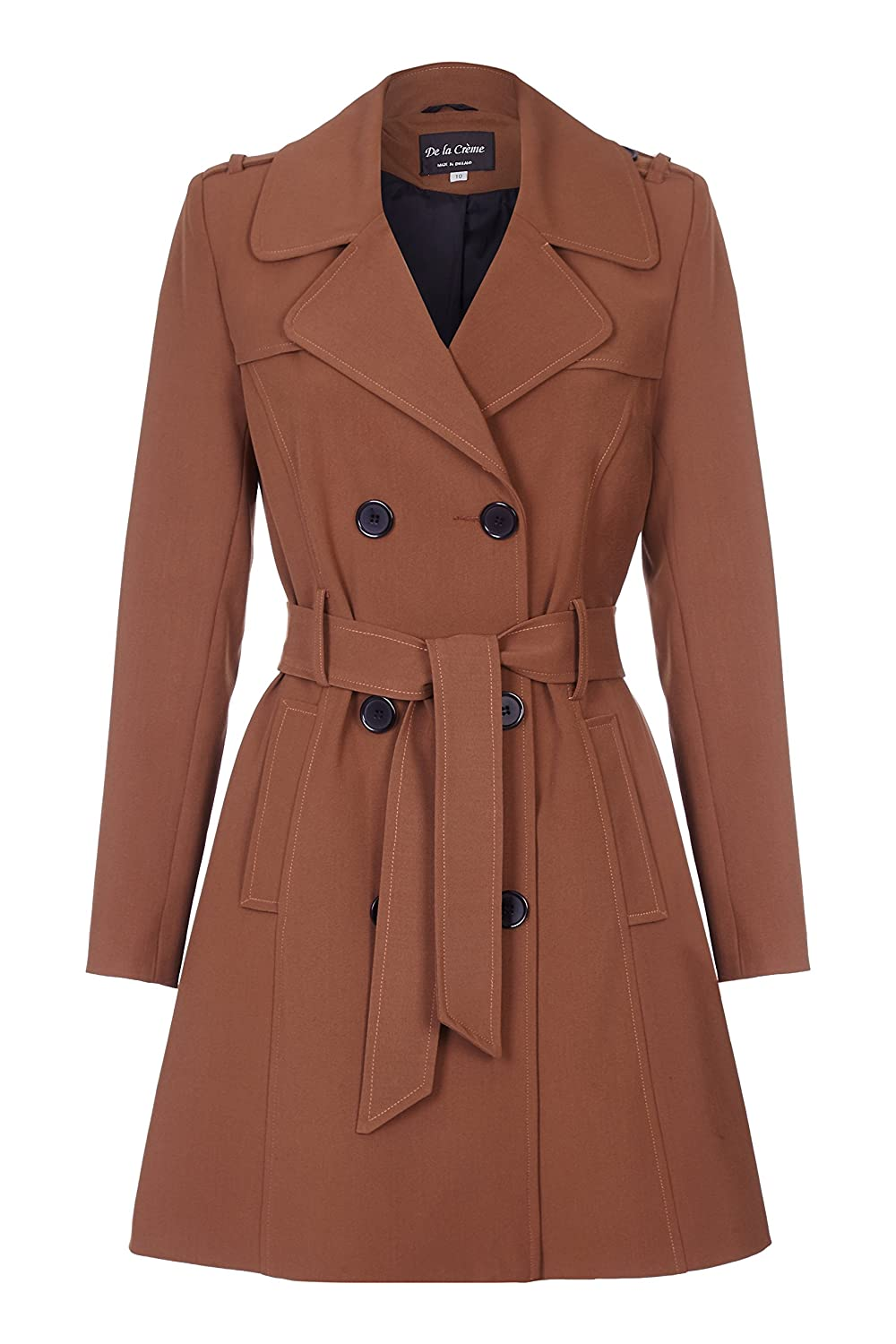 Brown De La Creme  Womens Spring Tie Belted Trench Coat