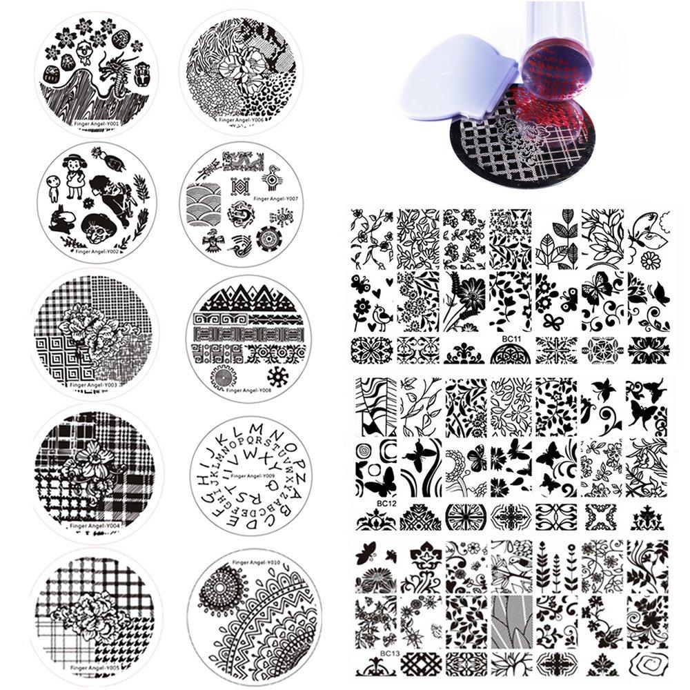 Finger Angel Nagelkunst-Stempelplatten, 13Stück + 1Nagelstempel und -schaber, Set mit floralen und Wald-Motiven Haiqiang