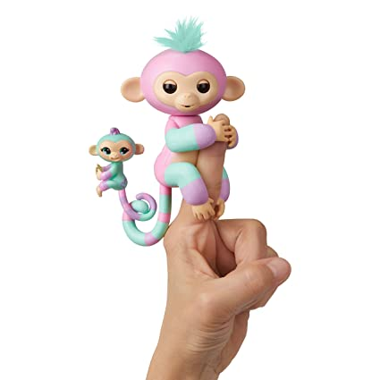 WowWee Fingerlings Baby Monkey & Mini BFFs Ashley and Chance (Turquoise), Pink