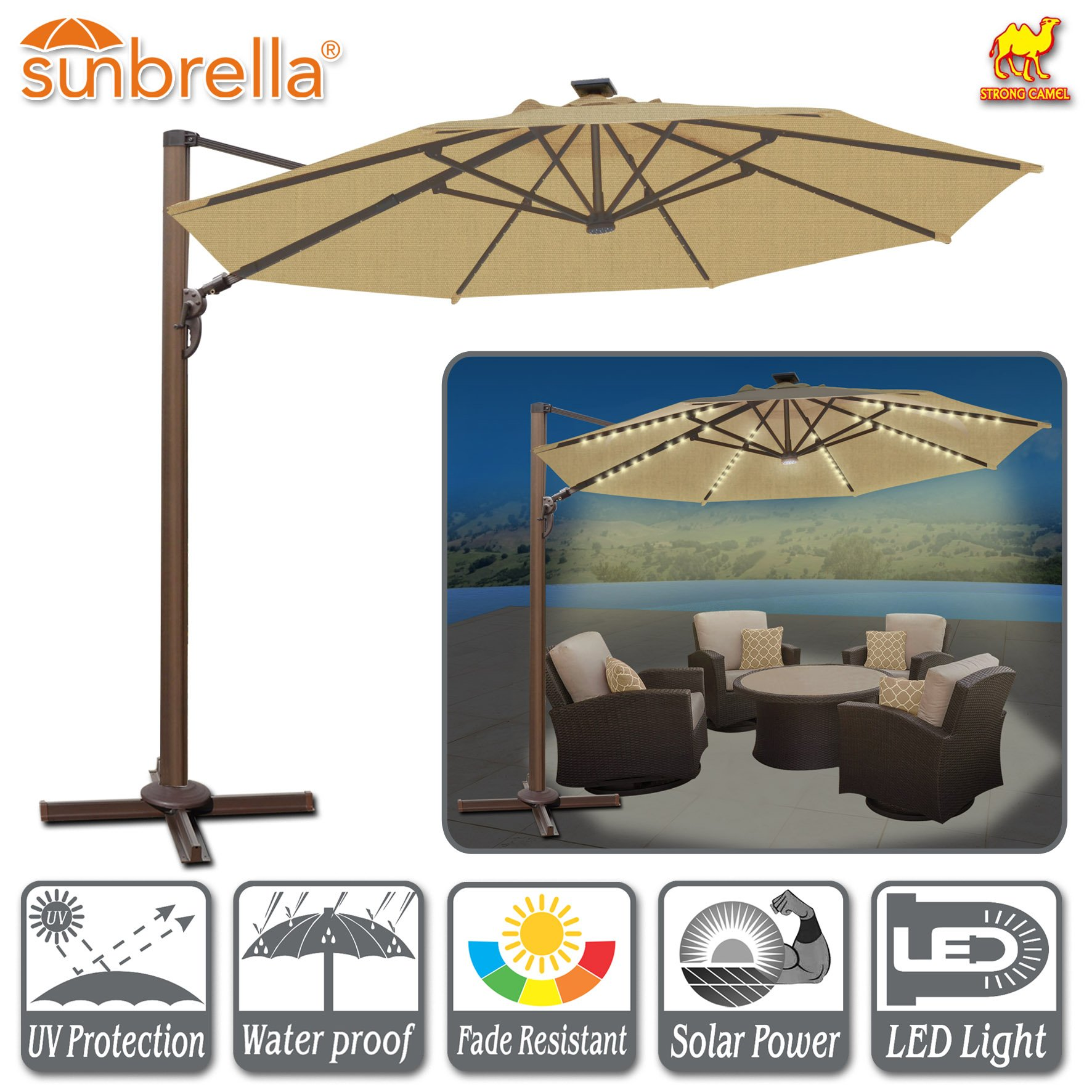 Strong Camel 11.5' Deluxe Cantilever Big Roma Umbrella Hanging Offset Solar Umbrella UV50+ Tilt & 360'C Rotation Patio Heavyduty Outdoor Sunshade Cantilever Crank SUNBRELLA Cover (Beige) by Strong Camel (Image #2)