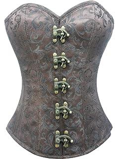d63f91b893c Brown Brocade Seal Lock Steampunk Period Costume Waist Training Overbust  Corset