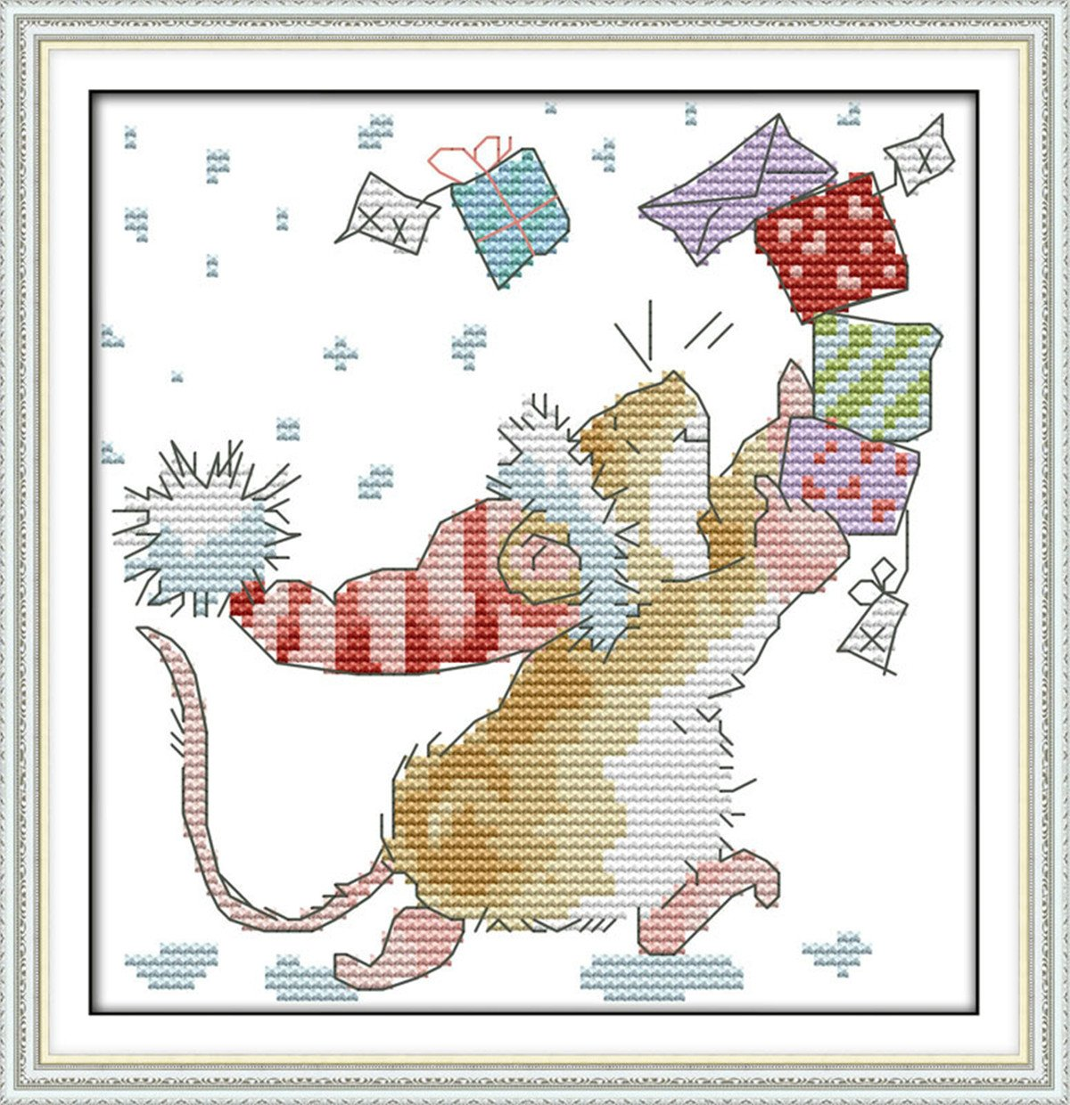 Stamped Cross Stitch Kit Mouse Dandelion Pattern 11CT Embroidery Needlepoint