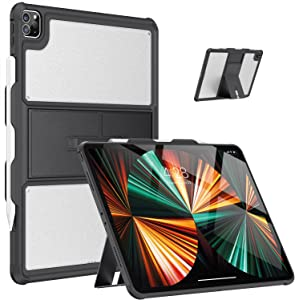 Soke New iPad Pro 12.9 2021 Case 5th Generation with Pencil Holder, Support Apple Pencil 2nd Gen Charging, Transparent Matte Back Cover for iPad Pro 12.9