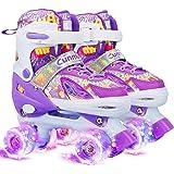 Cunmucu Roller Skates for Girls and Boys, Women and Men, 4 Size Adjustable Adult Kids Toddler Roller Skates Outdoor Indoor, P