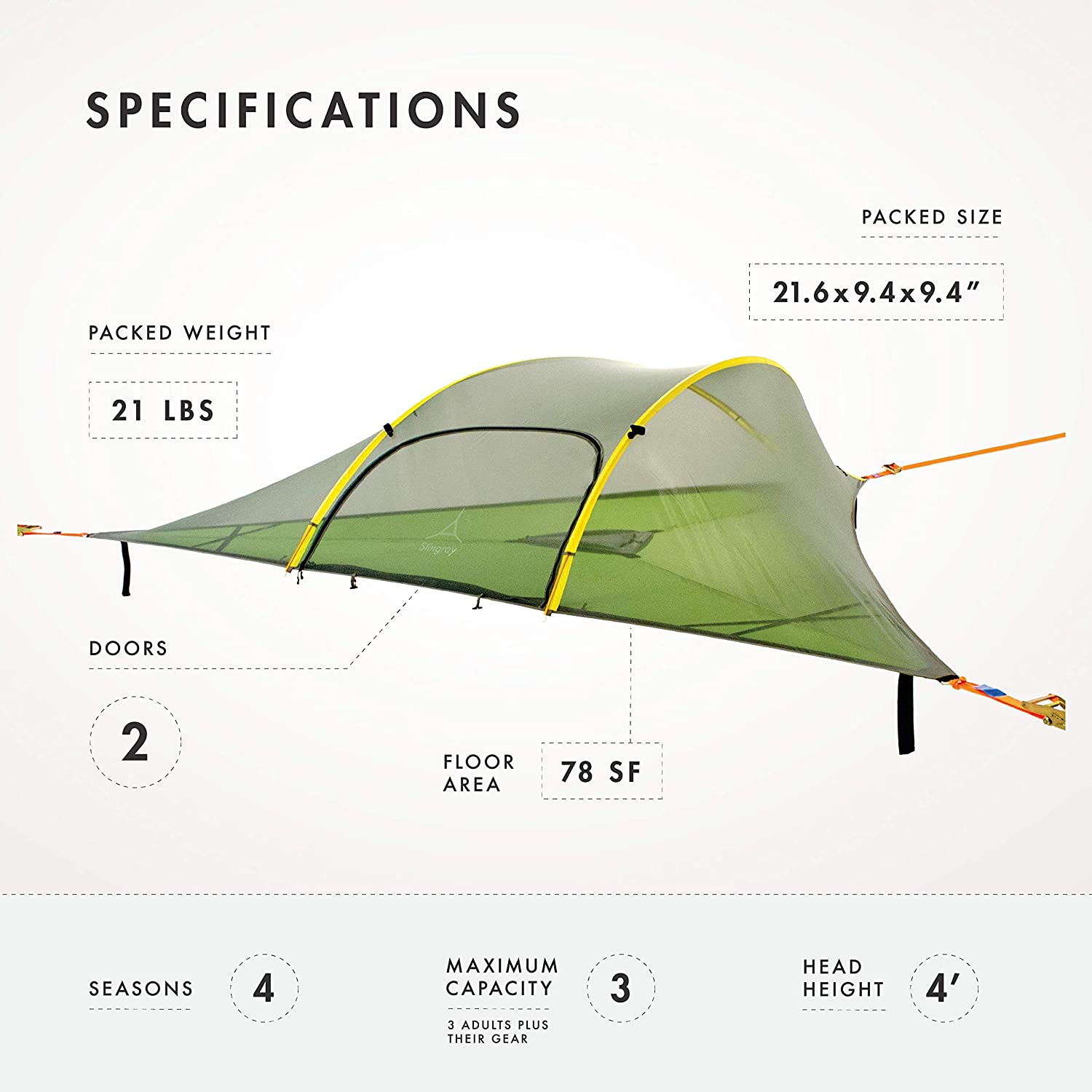 Tentsile Stingray 3 Person All Season Suspended Camping 360 Degree Feedback Report Spider Diagram Tree Tent Blue Rainfly Sports Outdoors