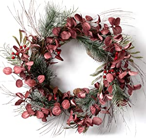 "LOHASBEE Artificial Christmas Wreath, 24"" Pine Cone Grapevine Eucalyptus Wreath with Red Berries for Home Front Door Hanging Wall Window Wedding Party Decor"