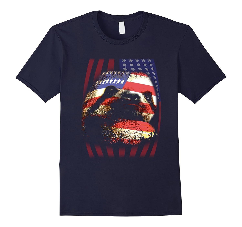 American Flag Sloth T-Shirt-CL