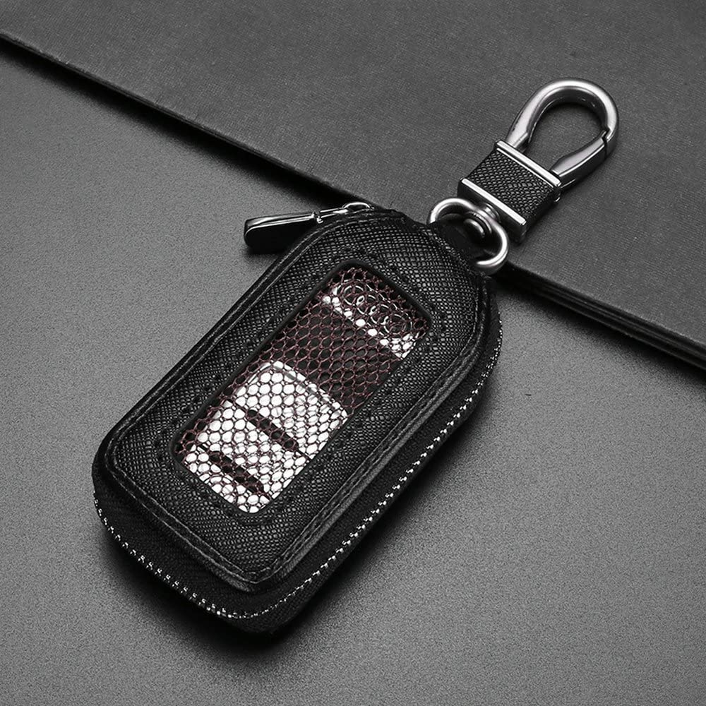 Gray Genuine Leather Car Remote Smart Key Holder with Hook Auto Keychain Key Fob Case