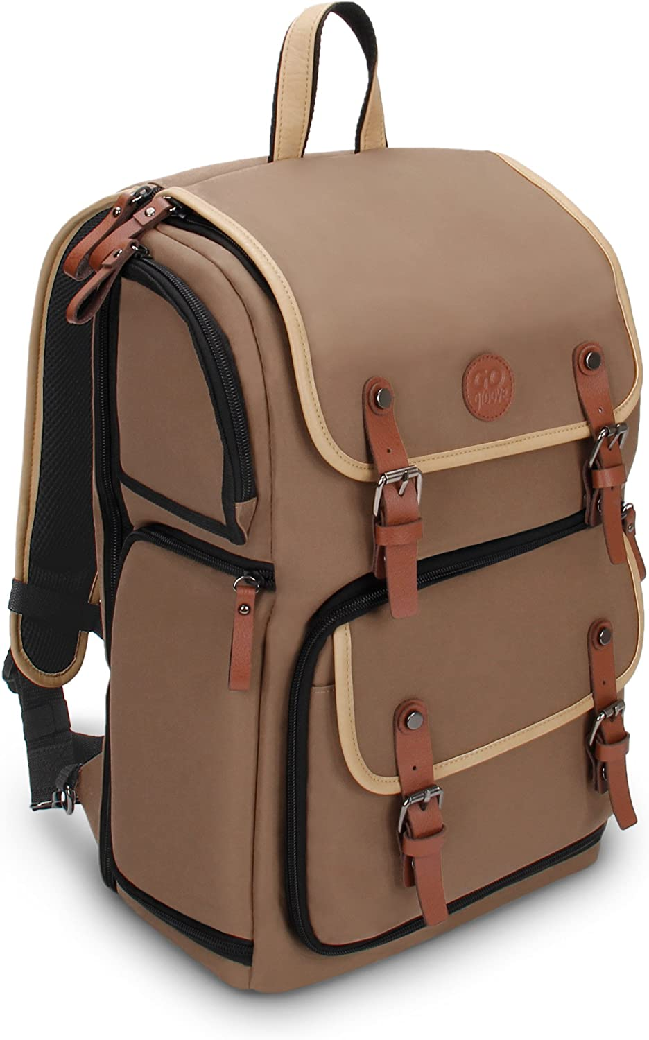 GOgroove Full-Size DSLR Photography Backpack Case (Tan) for Camera and Laptop with 15.6 inch Laptop Space, Accessory Storage, Tripod Holder, Long-Lasting Durability and Weatherproof Rain Cover