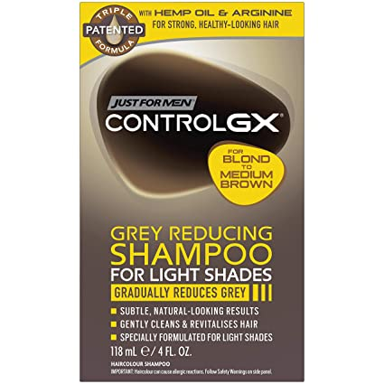Amazon.com: Just For Men Control GX Grey Reducing Shampoo, For Lighter Shades of Hair from Blonde to Medium Brown, 4 Ounce: Beauty