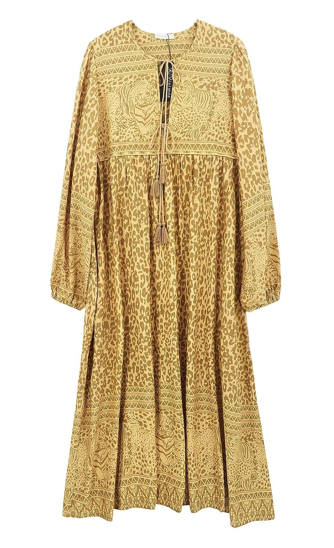 R.Vivimos Womens Casual Bohemian Print Neck Tie Long Sleeve Beach Style Long Midi Dress Vocation Dress
