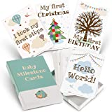 Milestone Cards for Baby Shower Gifts – Large 50 Card Set in Keepsake Box - Capture and Personalise Cherished Moments - Unisex Design by UK Mum