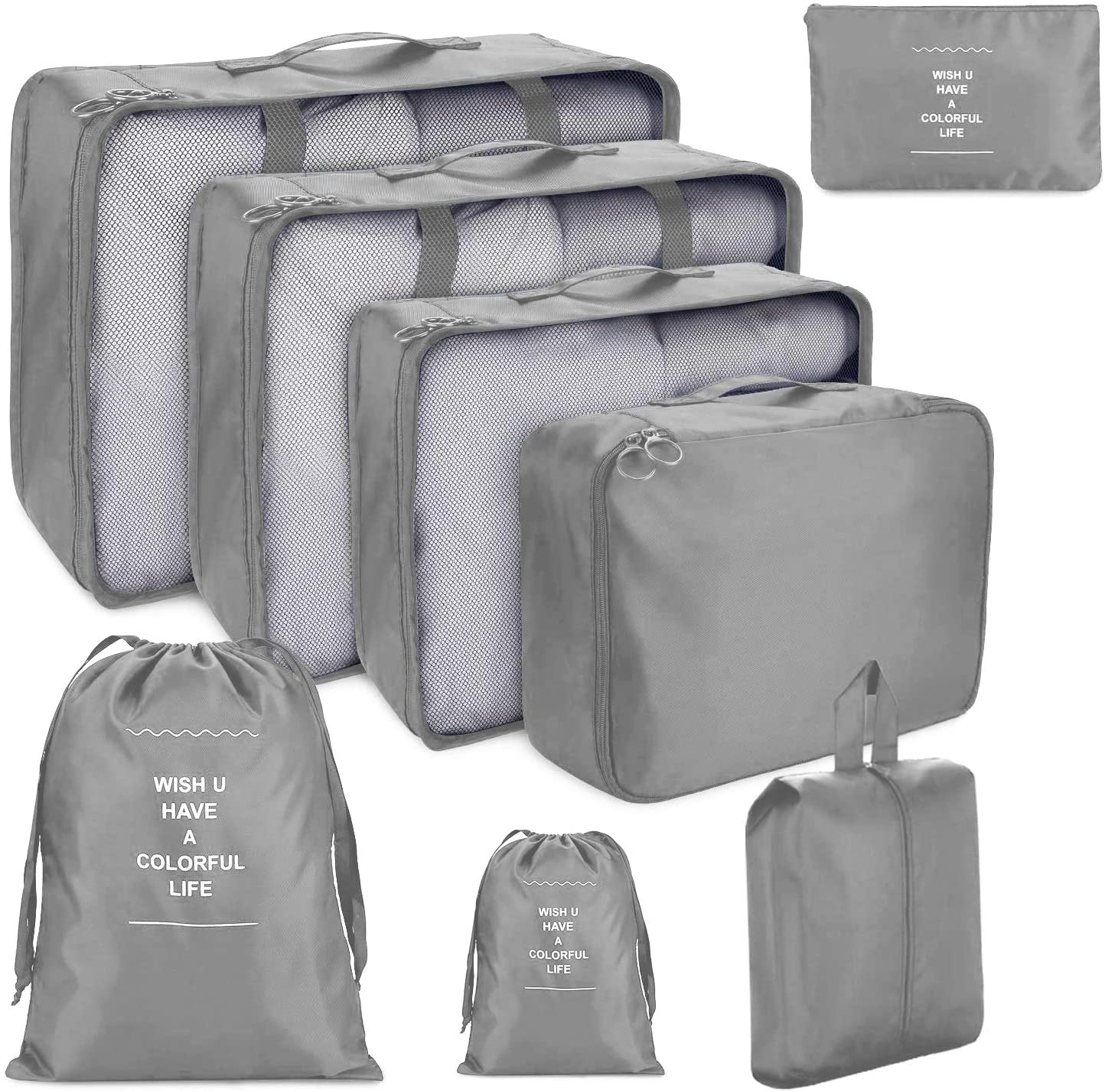 8 PCS Organizadores de Viaje para Maletas, Bolsas de Equipaje Impermeable Cubos Embalaje de Viaje Bolsas de Almacenamiento para Ropa Zapatos, Cosméticos Accesorios (Gris)