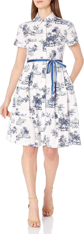 Donna Morgan Womens Petite Short Sleeve Stretch Cotton Poplin Shirt Dress